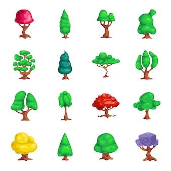 Zestaw ikon kreskówka drzewo