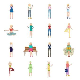 Zestaw ikon kreskówka dziewczyna