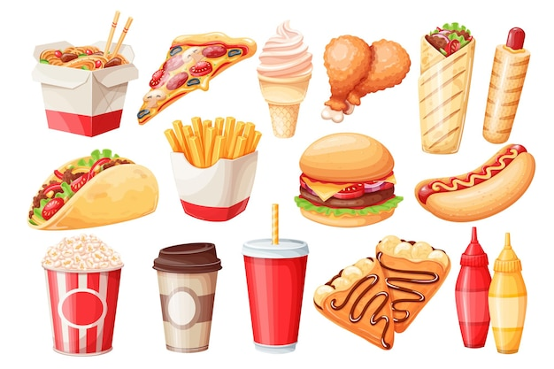 Zestaw ikon kreskówka fast food. naleśniki, hamburgery, makaron z woka, hot dog, shawarma, pizza i inne.
