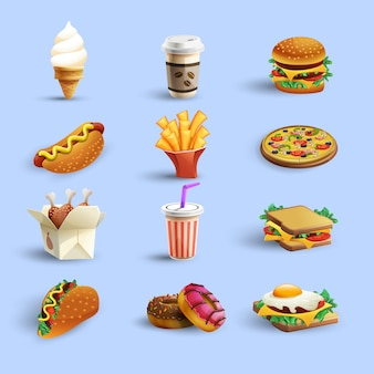 Zestaw ikon kreskówka fastfood