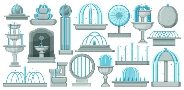 Zestaw ikon kreskówka fontanna. ilustracja wodospad na białym tle. kreskówka ustawić ikonę fontanny.