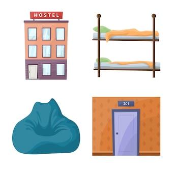 Zestaw ikon kreskówka hostel i usługi.