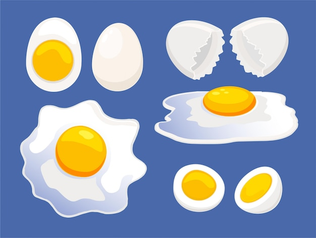Zestaw ikon kreskówka jaj. cali i łamani jajka, śniadaniowi kulinarni składniki, ilustracja. surowe i gotowane jajko, skorupka jajka.
