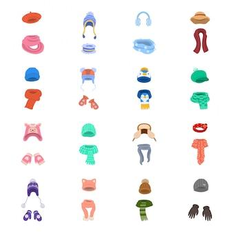 Zestaw ikon kreskówka kapelusz szalika