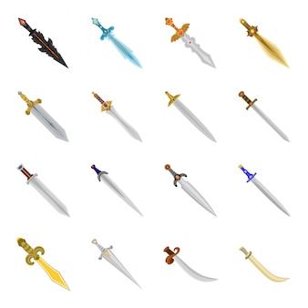 Zestaw ikon kreskówka miecz