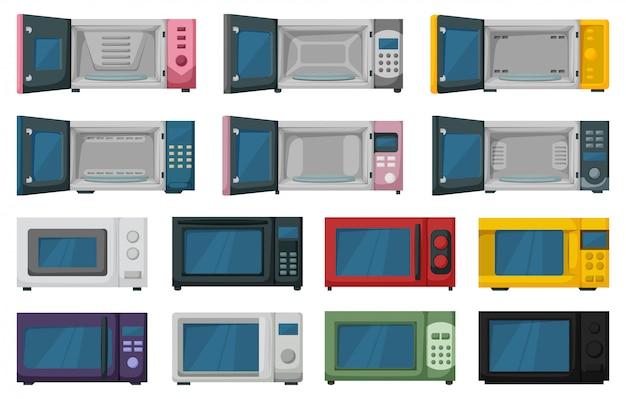 Zestaw ikon kreskówka mikrofalowa. kreskówka zestaw ikona kuchenka mikrofalowa. piekarnik ilustracji na białym tle.