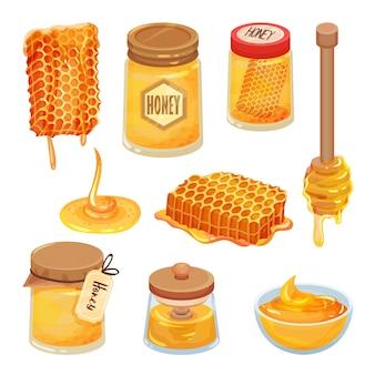 Zestaw ikon kreskówka miodu. naturalny i zdrowy produkt domowy. plaster miodu, słoiki i drewniane wózki pszczele