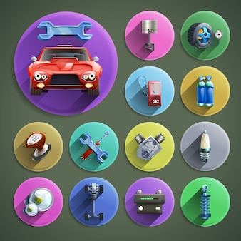 Zestaw ikon kreskówka naprawy samochodu