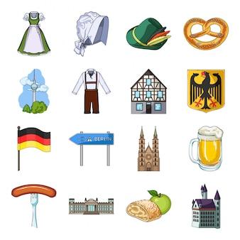 Zestaw ikon kreskówka niemcy kraju. zestaw ikon kreskówka oktoberfest. kraj niemcy.
