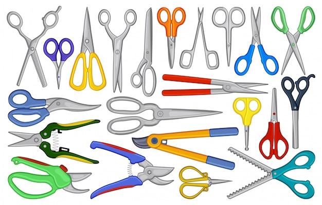 Zestaw ikon kreskówka nożyczki. ilustracja sprzęt nożycowy na białym tle. kreskówka na białym tle zestaw ikon nożyczki.
