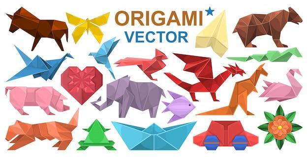 Zestaw ikon kreskówka origami. ilustracja papieru zwierząt na białym tle. kreskówka na białym tle zestaw ikon origami.