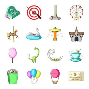 Zestaw ikon kreskówka park rozrywki. kreskówka na białym tle ikona ustaw cyrk i karuzela. ilustracyjny park rozrywki.