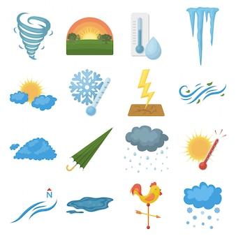 Zestaw ikon kreskówka pogody