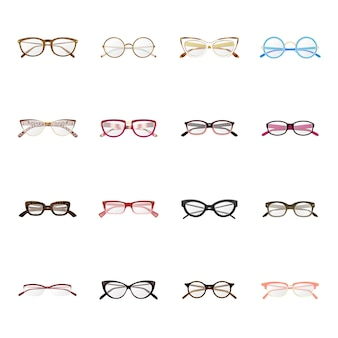 Zestaw ikon kreskówka produkcji okularów, okulary mody.