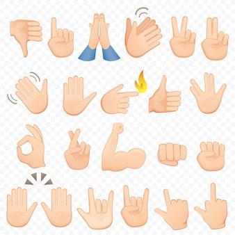 Zestaw ikon kreskówka ręce i symbole. ikony dłoni emoji. różne ręce, gesty, sygnały i znaki, kolekcja ilustracji