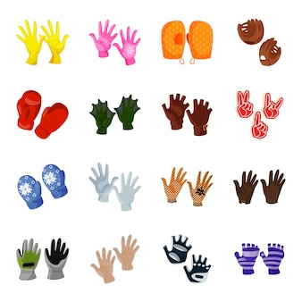 Zestaw ikon kreskówka rękawiczki