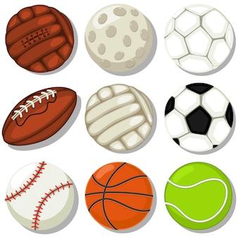Zestaw ikon kreskówka różnych piłek sportowych. koszykówka, piłka nożna, rugby, tenis, baseball, golf, piłka nożna i siatkówka ilustracja na białym tle.