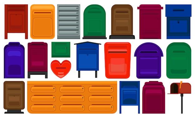 Zestaw ikon kreskówka skrzynki pocztowej. zestaw ikon na białym tle kreskówka list. ilustracyjna skrzynka pocztowa na białym tle.