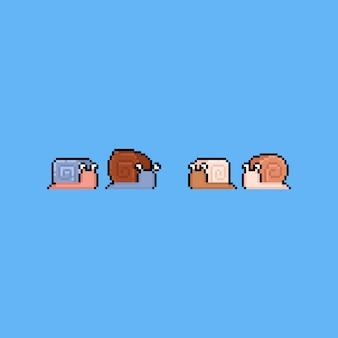 Zestaw ikon kreskówka ślimak pikseli sztuki. 8bit.