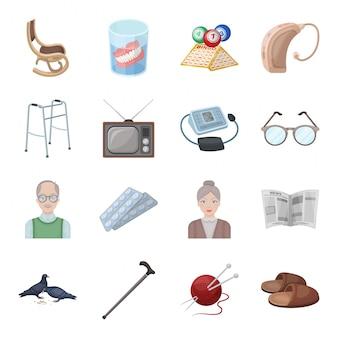 Zestaw ikon kreskówka starości. na białym tle kreskówka zestaw ikon opieki. podeszły wiek .