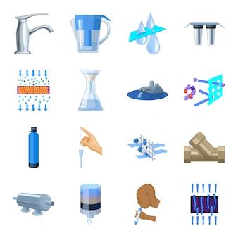 Zestaw ikon kreskówka system filtracji wody. ilustracja system filtracji. na białym tle kreskówka zestaw ikona filtracja wody.