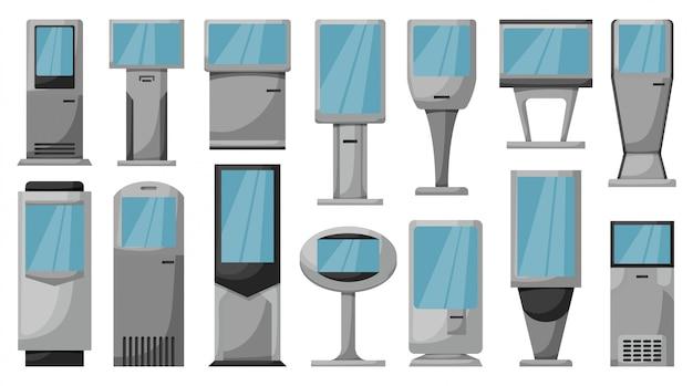 Zestaw ikon kreskówka terminalu. ilustracyjny ilustracyjny atm na białym tle. kreskówki ikony ustalony terminal.