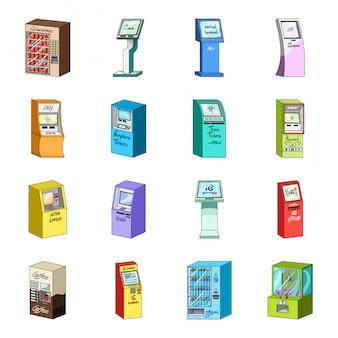 Zestaw ikon kreskówka terminalu. zapłata . kreskówka na białym tle zestaw ikon terminal.