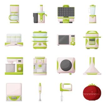 Zestaw ikon kreskówka urządzenia kuchenne. ilustracja na białym tle sokowirówka, maszyna, mikser i inny sprzęt do kuchni. zestaw ikon gospodarstwa domowego i narzędzia.