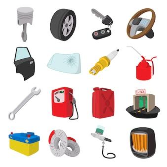 Zestaw ikon kreskówka usługi konserwacji samochodu na białym tle