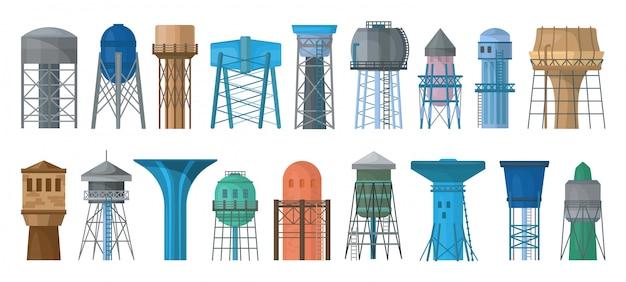 Zestaw ikon kreskówka wieża ciśnień. zbiornik ilustracji
