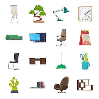 Zestaw ikon kreskówka wnętrz biurowych, nowoczesne wnętrza biurowe.