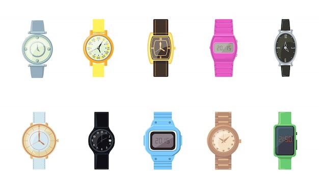 Zestaw ikon kreskówka zegarek na rękę