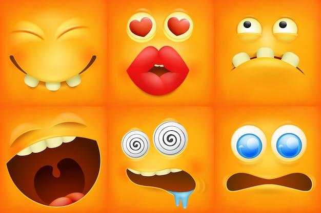 Zestaw ikon kreskówka żółty emotikon kwadrat.