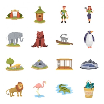 Zestaw ikon kreskówka zoo.