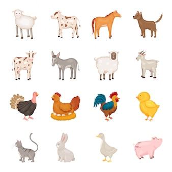 Zestaw ikon kreskówka zwierząt gospodarskich i