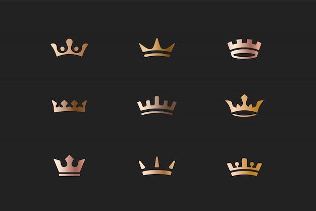Zestaw ikon królewskie złote korony i logo