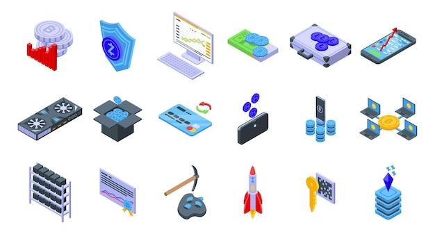 Zestaw ikon kryptowalut. izometryczny zestaw ikon wektorowych kryptowaluty do projektowania stron internetowych na białym tle