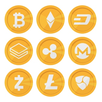 Zestaw ikon kryptowaluty dla internetowych pieniędzy. bezpieczny oparty na blockchain. znak na białym tle wektor. główne monety kryptowalut