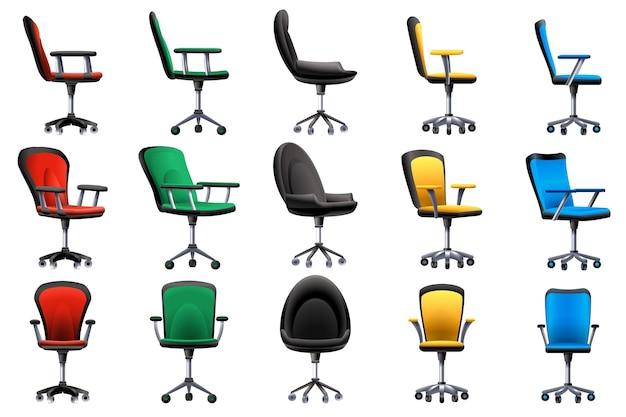 Zestaw ikon krzesło biurko.