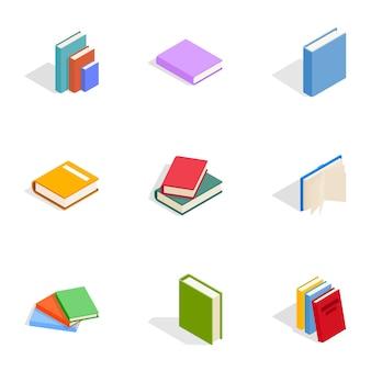 Zestaw ikon książek, izometryczny styl 3d