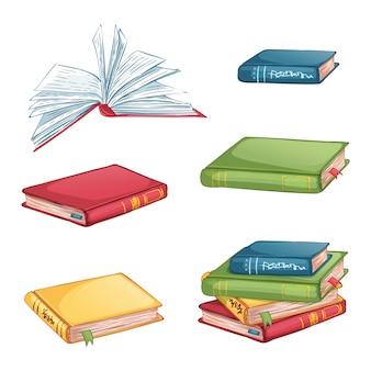 Zestaw ikon książek pod różnymi kątami