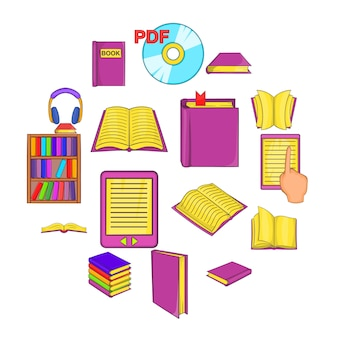 Zestaw ikon książek, stylu cartoon
