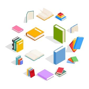 Zestaw ikon książki, styl izometryczny