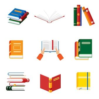 Zestaw ikon książki w płaski na białym tle ręce trzymać książki. otwarty notatnik i pamiętnik z kolorowymi zakładkami.
