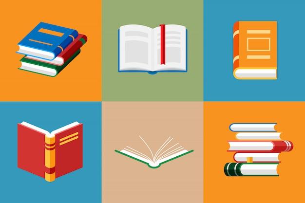 Zestaw ikon książki w stylu mieszkanie na białym tle.