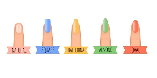 Zestaw ikon kształt paznokci. salon piękności kolorowy zestaw kobieta paznokcie. profesjonalny manicure różnych kształtów paznokci