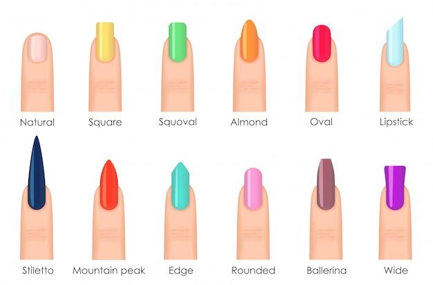 Zestaw ikon kształtów paznokci