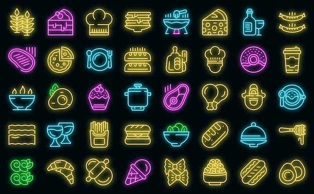 Zestaw ikon kuchni francuskiej wektor neon