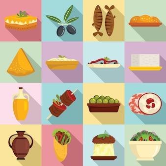 Zestaw ikon kuchni greckiej, płaski