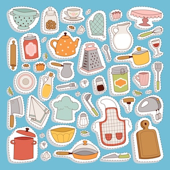 Zestaw ikon kuchni.